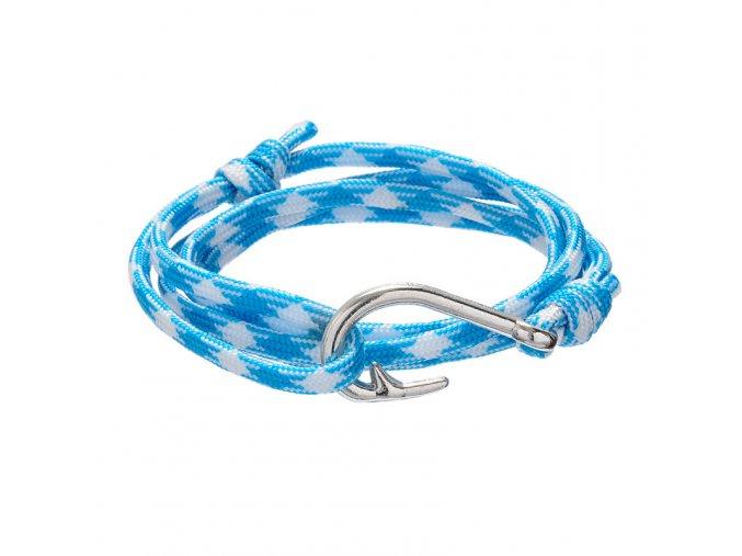 Náramok s hákom, bielo-modrá šnúrka, bižutéria