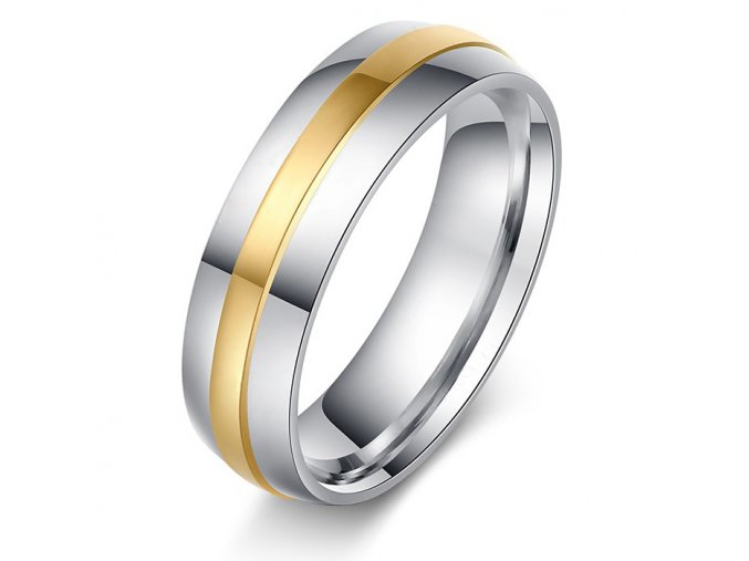 Prsteň z chirurgickej ocele, stredový pás zlatej farby