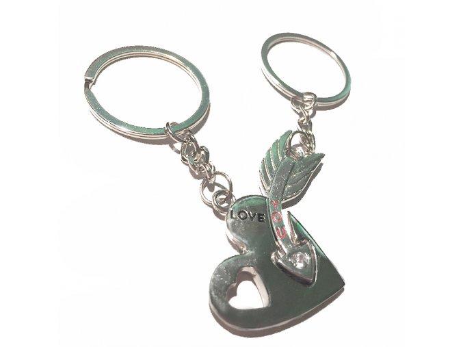 Kľúčenky pre dvoch, srdce a šíp, nápis LOVE a YOU, zirkón