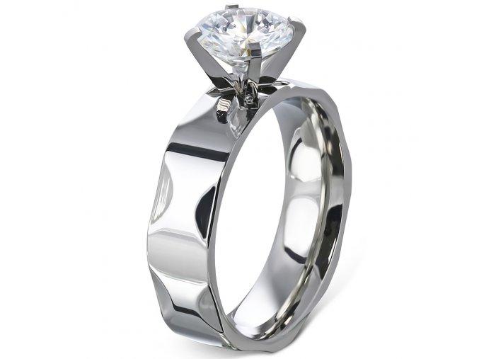 Zásnubný prsteň so zirkónom, strieborná farba, oceľ - Solitér