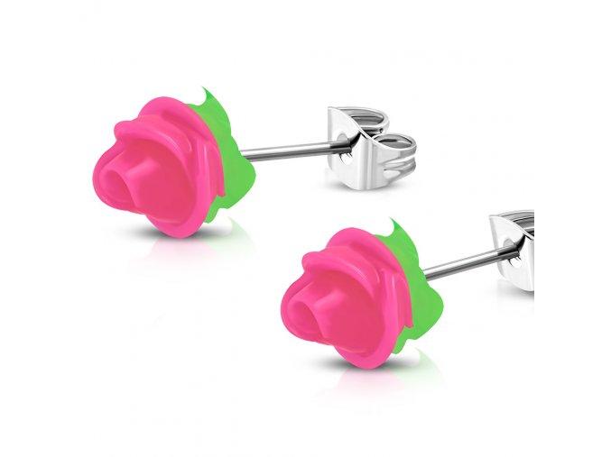 Puzetové náušnice pre ženu s ružovou ružou, chirurgická oceľ