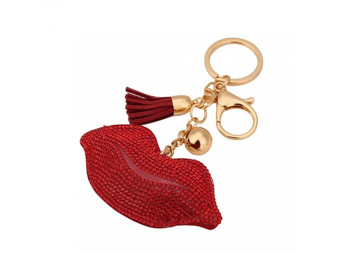 Prívesok na kabelku, červené pery s kamienkami, strapec