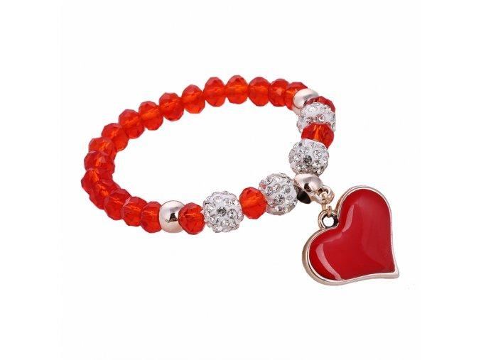 Dámsky náramok z korálikov, prívesok srdce s červenou glazúrou, bižutéria09 (2)