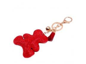 Prívesok na kabelku, červený macko s kamienkami, strapec