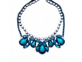 Dámsky náhrdelník na krk, azúrová farba, akrylové kryštaly, bižutéria