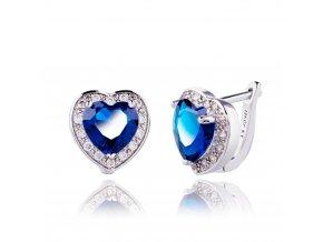 Dámske náušnice so zirkónmi, kráľovsky modré srdce, bižutéria