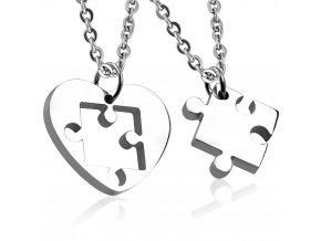 Prívesky pre zamilovaných, puzzle a srdce, chirurgická oceľ