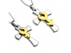 Prívesky pre zamilovaných, dva kríže, symbol Ona a On, oceľ