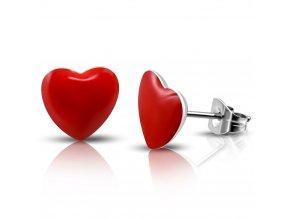Náušnice srdce z chirurgickej ocele, červená glazúra, puzetky