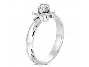 Zásnubný prsteň so zirkónom, kvietok, oceľ, strieborná farba