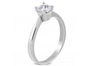 Zásnubný prsteň z chirurgickej ocele, číry zirkón, strieborná farba