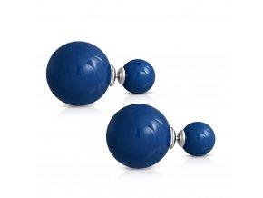 Dvojité guličkové náušnice, modrá farba, chirurgická oceľ