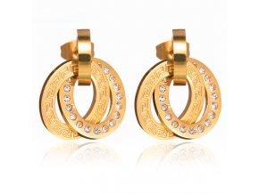 Puzetové oceľové náušnice so zirkónmi, zlatá farba, grécky kľúč01