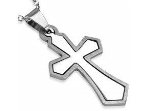 Dvojitý prívesok na krk, kríž z chirurgickej ocele striebornej farby