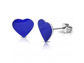 Náušnice srdce z chirurgickej ocele, modrá farba, puzetky