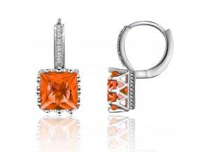 Dámske zirkónové náušnice, oranžový štvorcový kamienok, bižutéria