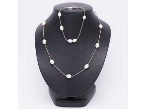 Náramok a náhrdelník z riečnych perál, retiazka, bižutéria