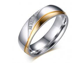 Dámska svadobná obrúčka z ocele, zlatá a strieborná farba,