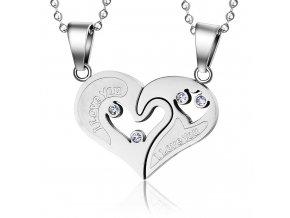 Prívesok pre dvoch z ocele, srdce z nápisom strieborná farba