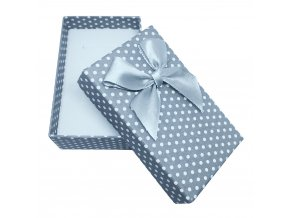 Darčeková krabička na sadu šperkov, biele bodky a mašľa
