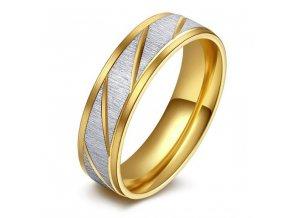Prsteň z chirurgickej ocele, zlatá a strieborná farba, zárezy (1)