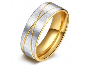 Prsteň z chirurgickej ocele, zlatá a strieborná farba, ryhy (1)