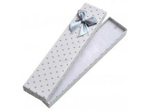 Biela bodkovaná darčeková krabička na náramok alebo retiazku, mašľa (2)