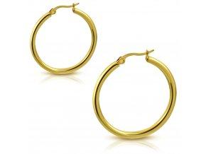 Dámske náušnice kruhy z chirurgickej ocele, zlatá farba - 20 mm