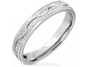 Pieskovaný prsteň z chirurgickej ocele, vlnka, strieborná farba - 4 mm
