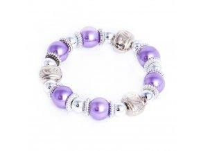 Náramok pre ženu s fialovými perlami, elementy striebornej farby, bižutéria
