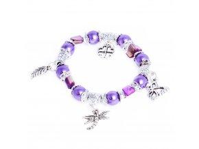 Náramok pre ženu, sýte fialové guličky, prívesky, bižutéria