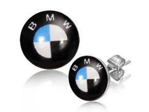 """Oceľové puzetky s nápisom """"BMW"""", čierna, biela a modrá farba"""