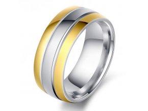 Prsteň z chirurgickej ocele, pásy striebornej a zlatej farby