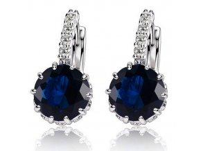Zirkónové náušnice pre ženu, kráľovsky modrý kamienok, bižutéria