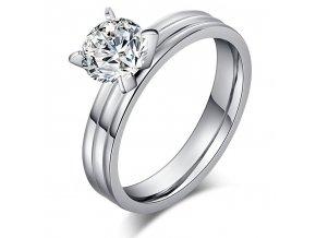 Dámsky prsteň so zirkónom, ryhy, chirurgická oceľ Solitér
